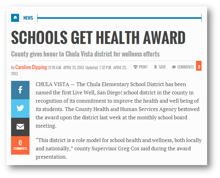 County gives honor to Chula Vista district for wellness efforts