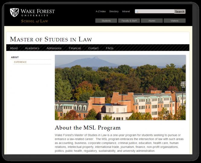 Wake Forest University School of Law's MSL website