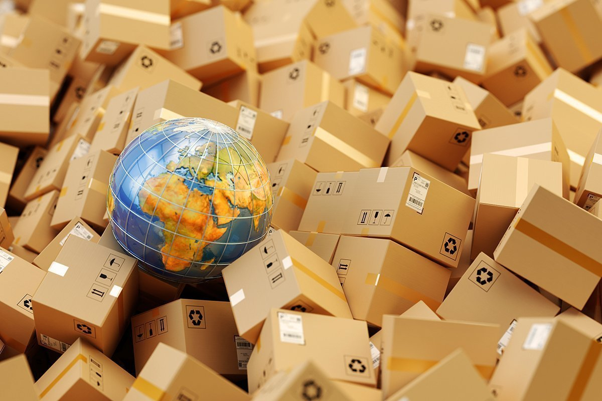 Distribution warehouse, international package shipping, global freight transportation concept