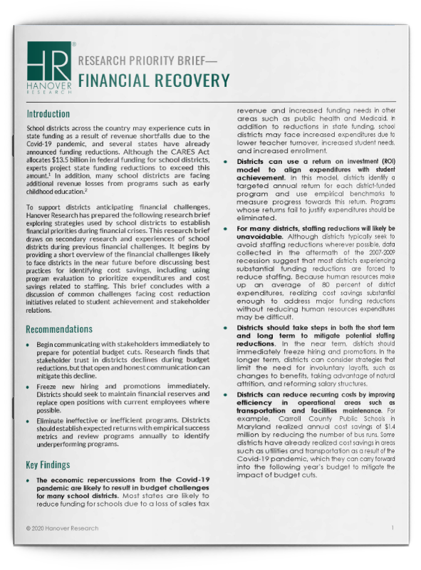 Financial Recovery Research Brief